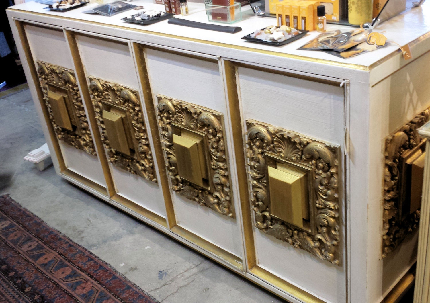 70s Solid Wood Carved Hollywood Regency Buffet – Up For Custom Paint . Full resolution  portrait, nominally Width 1500 Height 1057 pixels, portrait with #B98212.