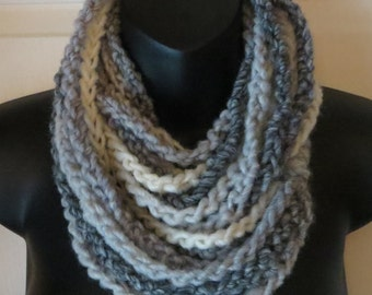 More Colors Available..Chain Infinity Scarf..Shades of Grey..Cowl..Neck Warmer..Accessory..Gift