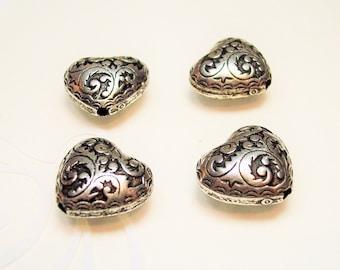 3 Ornate 13x14mm Puffed Heart Beads per listing