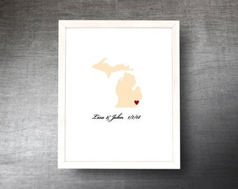 Michigan Wedding Guestbook Alternative - Hand Cut Wedding Guest Book - Michigan State Shape - Guest Poster - 4 Colors and Sizes