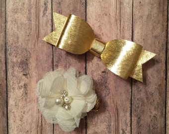 Gold Bow and Cream Flower Hair Clip Set