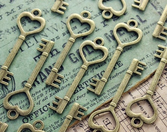 CLEARANCE 40 pcs Brass Heart skeleton Key Charm Double Sized Steampunk Supplies Wedding Key