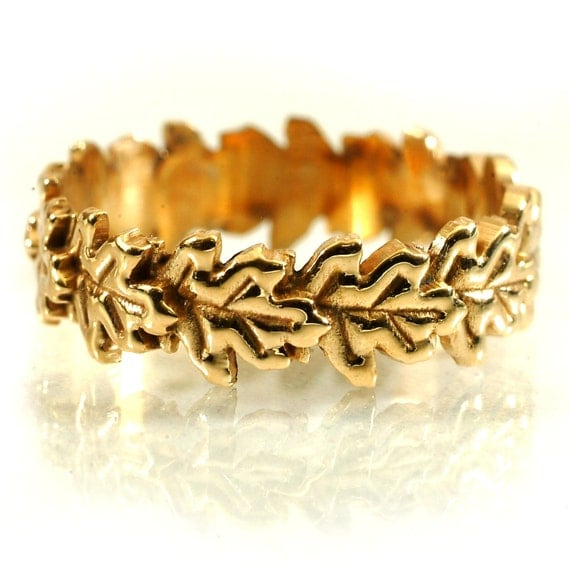 Gold Stackable Ring Flowing Oak Leaf Art Nouveau Design in 10K 14K 18K or Palladium, Made in Your Size Cr-5040