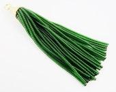 Transparent Emerald Green Afghan Tibetan Heishi Tube Beaded Tassel - Handmade - 22k Matte Gold Plated Cap - 102mm = 4 inches  -1PC