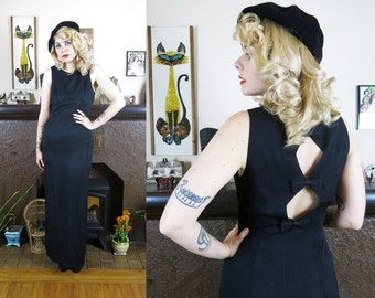 Vintage 1980s Black Hourglass Maxi Dress- Sexy Cutout Back with Bow Details- Perfect Party Evening Gown- Small/Med