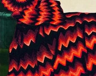 Crochet Afghan -  Ripple Afghan and Pillow Pattern Vintage Pattern - PDF Instant Download - Afghan Lap Blanket - Digital Pattern - Cushion