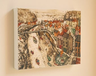 STAITHES North Yorkshire Coast Canvas Print by artist Clare Caulfield. Signed Box canvas. Rich autumnal colours