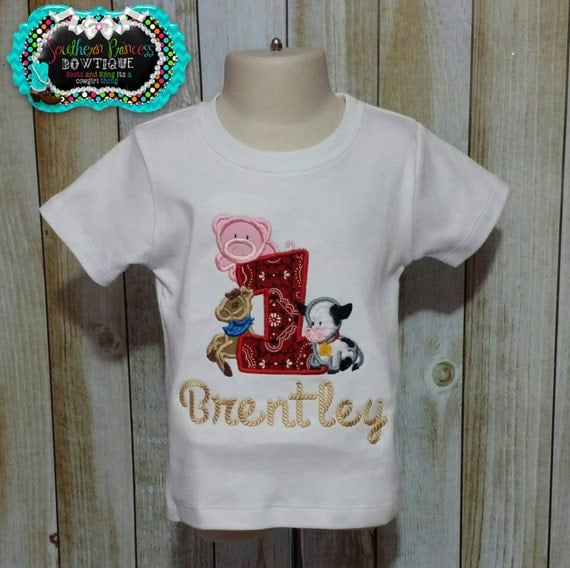 Farm animals st birthday embroidered by southernprincessbows
