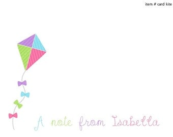 Colorful Kite Note Cards Set of 10 personalized flat or folded cards