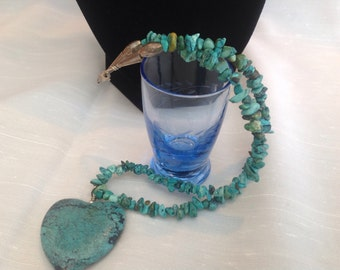 Genuine Turquoise Necklace with Heart Pendant