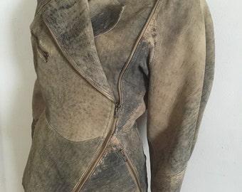 Retro 80s VTG distressed Moto Biker Cropped leather GENUINE Jacket