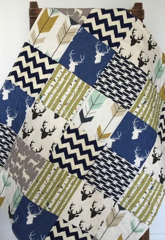 Baby Quilt Boy Southwest Bow And Arrow Stag By Coolspool