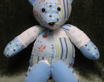 Blue Patchwork snuggle bear