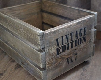 Wooden Crate, Vinatge style. Customized wording, toys crate, box, living room  storage, nursery furniture,solid wooden box,rustic home decor