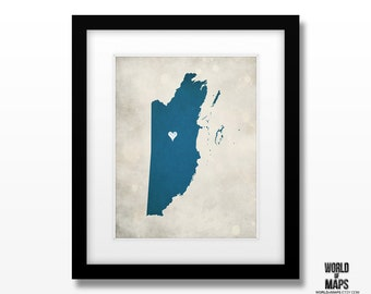 Belize Map Print - Home Town Love - Personalized Art Print Available in Different Sizes & Colors