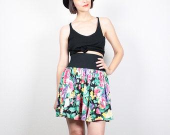 Vintage 80s Skirt Rainbow Floral Print Mini Skirt Ultra High Waisted Skirt Skater Skirt New Wave Ruffle Skirt 1980s Skirt S Small M Medium