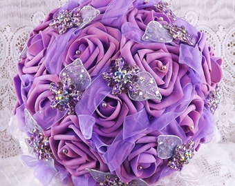 Lilac&Wisteria Wedding Bridal Bouquet Brooch Bouquet-Bridal Bouquet-Wedding Bouquet-Charming Vintage Style Rose Bouquet Victorian Lace
