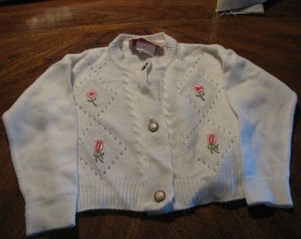 Baby Sweater by Maridalia - Vintage white knit with embroidered flowers