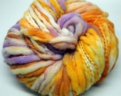 """Hand Painted 2- ply Thick 'n' Thin bulky weight 100% Merino wool yarn for Knitting, Crocheting, Weaving and Fiber Arts. """"Crocus""""  100g."""