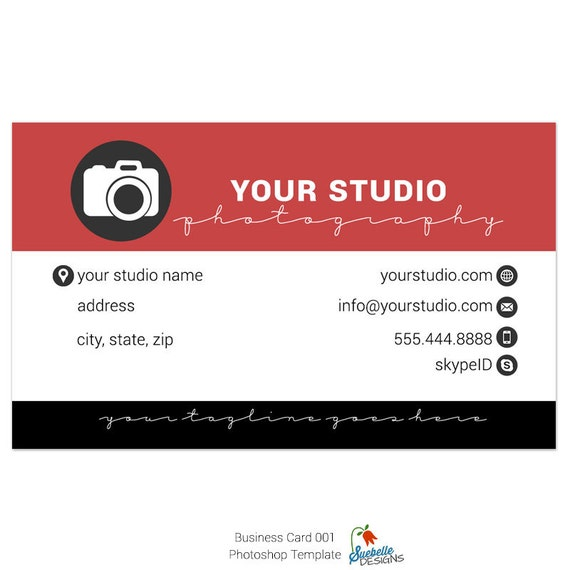 Business Card Photoshop Template 001 for Professional Photographers