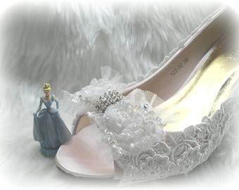 Princess lace  bridal wedding heels /bridesmaid shoes  (BS1223244)