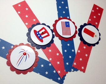 12 Fourth of July Napkin Rings, July 4th Napkin rings, Flag Independence Day, Handmade by DesignsbyAliA