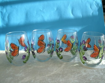 stemless MONARCH BUTTERFLY wine glasses, set of four