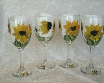 SUNFLOWER WINE GLASSES, set of four