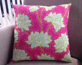 """Square Cushion Cover/Pillow in Heather Bailey Pop Garden """"Peonies in Pink"""" . Made to fit a 45cm or 18 inch Insert"""