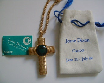 Jeane Dixon Zodiac Horoscope Astrology Astrological Jewelry June 21 July 22 Cancer Sign Symbol Crab Glass Yellow Gold Cross Pendant Necklace