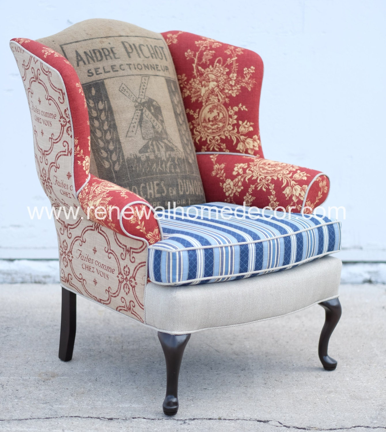 Custom order french country upholstered wingback