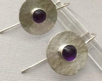 Amethyst & Sterling Silver Earrings, Deep Purple Amethyst Gemstones, Modern, Urban, Handwrought Metalsmith Earrings