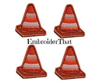 UNCUT Safety construction cone applique embellishment feltie patches (4)