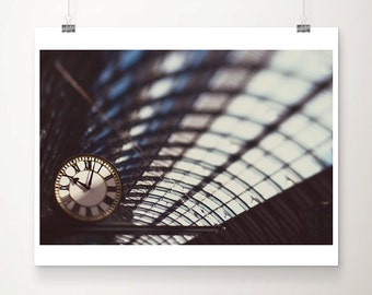 train station photograph clock photograph kings cross station print railway station photo london photograph london decor travel photography