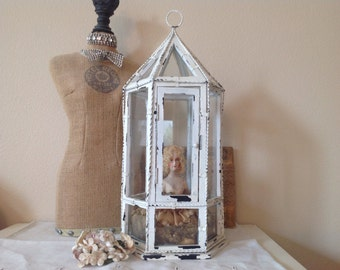 Shabby cottage chippy white painted glass enclosed doll or collectible display cabinet