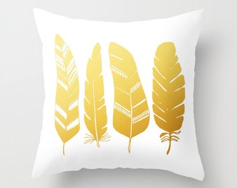 Golden Feathers Decorative throw pillow cover home decor tribal feather gold nature white and gold