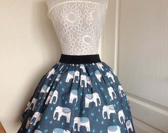 Ladies or girls Pretty elephant full skater style skirt