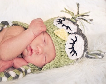 Crochet Sleepy Owl Earflap Hat -Baby, Toddler, Child, Teen and Adult Sizes. Sleepy Owl Hat, Boys Owl Hat