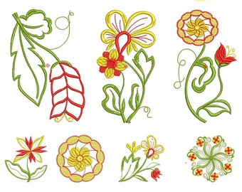 "Set of ornamental Machine Embroidery designs  -""light flowers"" - You buy 10 different files"