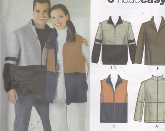 Simplicity 4830 Vintage Pattern Men/Womens Jacket,and vest in 6 Variations Size X Sm, Sm, Med,Lg, X Lg UNCUT