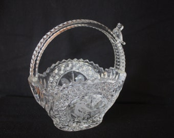 Vintage Cut Glass Basket with Birds