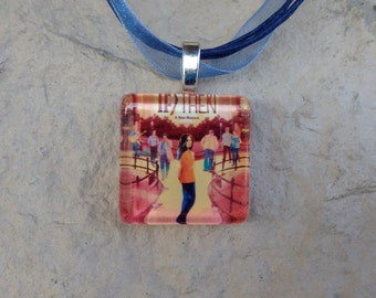Broadway Musical If/Then Glass Pendant and Ribbon Necklace
