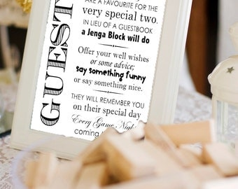 Printable Jenga Guestbook Sign- - Wedding Guestbook, Engagement Party