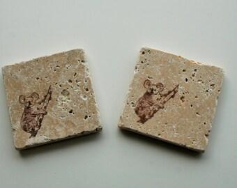 Rustic Stone Coaster,Koala Bear, Travertine Tile coaster, Tumbled stone tile, Stocking stuffer