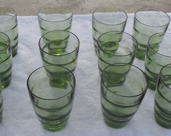 Vintage Retro Drinking Glasses Waterfall Set of 12 Avocado Colored Glasses 4 X 3 - Free US Shipping