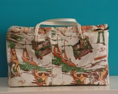 Vintage 1960s 1970s Insulated Vinyl Cooler / Picnic Bag 1970s Design