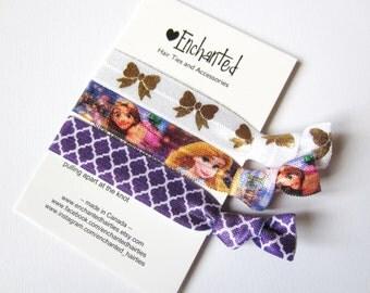 Rapunzel Inspired 3-Pack Soft Elastic Hair Ties, Bracelet, Ribbon Elastic, Fold Over Elastic, Party Favor, Goody Bag, Tangled, Ponytail