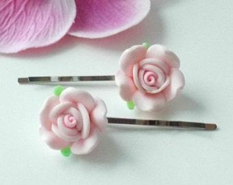 Rose bobby pins Pink flower hair pins Handmade barrettes Floral bridal accessories
