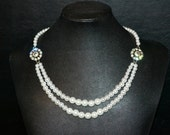 Swarovski Crystal Flower and Pearl Twin Strand Bridal Necklace
