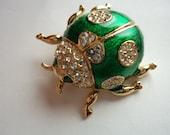 Vintage Unsigned Goldtone/Rhinestone/Green Ladybird/Ladybug Brooch/Pin